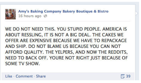 amy's baking company - how not to respond to negative reviews
