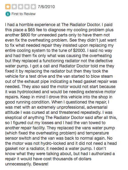radiator doctor review - how not to response to reviews
