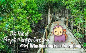 a purple monkey dinosaur on a bridge FeaturedImage